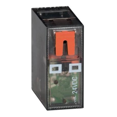 Przekaźnik miniaturowy ze wskaźnikiem LED i przyciskiem mechanicznym, sterowanie 24VDC, 2C/O, 8A, do gniazd HR5XS2