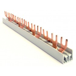 Szyna 3-fazowa, widełkowa, 10mm2, długość 21,2cm, z cenralnym wyprowadzeniem widełek